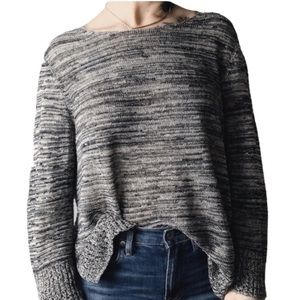 Eileen Fisher Marled Cotton Blend Sweater L